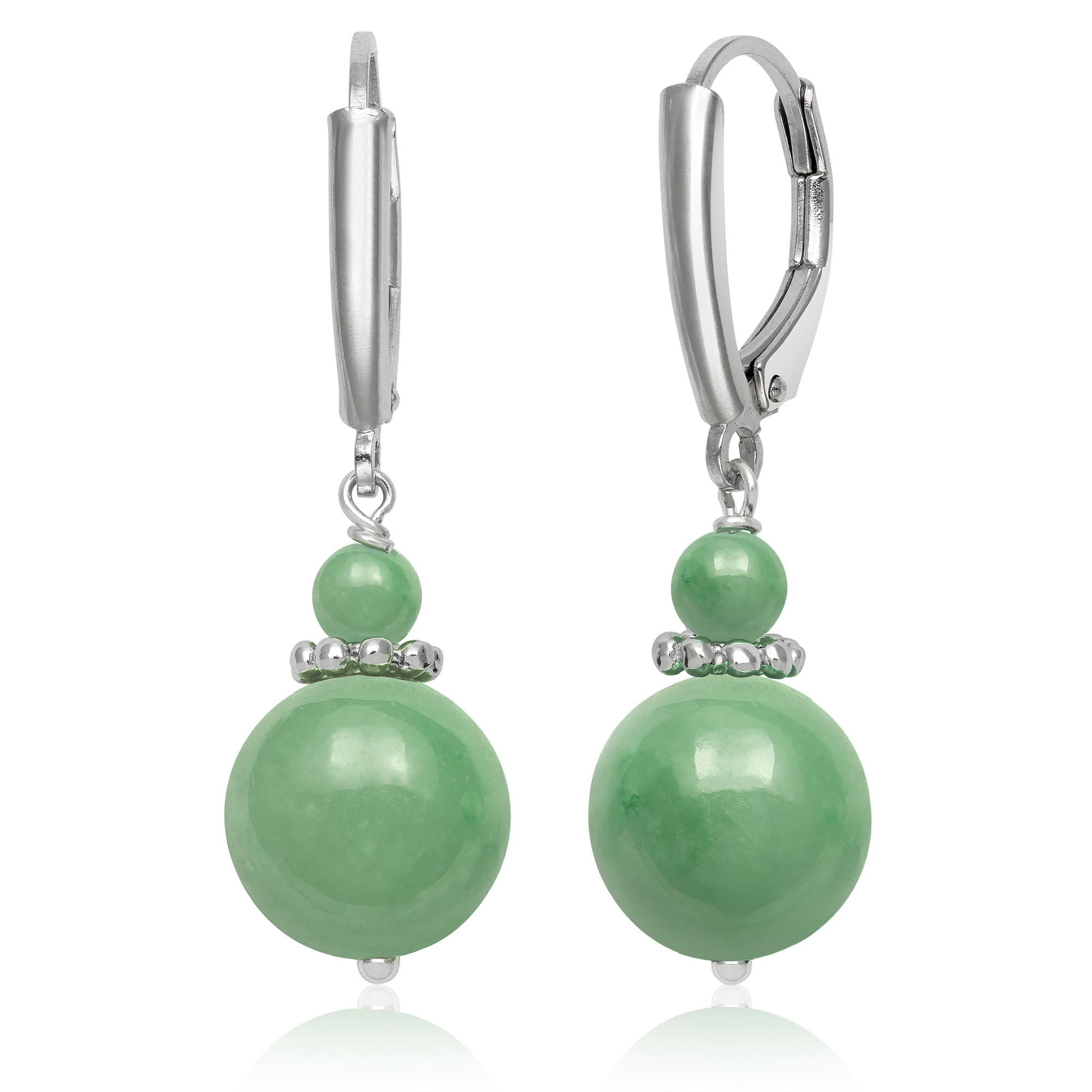 Sterling Silver Natural Green Jade Lever Back Drop Dangle Earrings by Belacqua (Image #1)