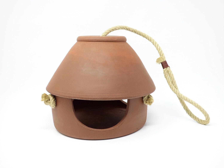 Handgefertigtes Vogelfutterhaus aus Keramik, H 20cm, D 20cm, Terrakotta, frostsicher, witterungsbeständig witterungsbeständig