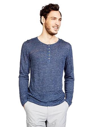 5037f675de85 MONOPRIX HOMME - T-shirt col tunisien en lin - Homme - Taille   S ...