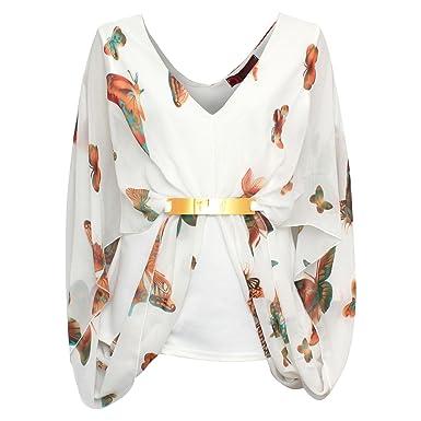 9e77e692d6dd Imaginaire en mousseline pour femme Motif Papillon doré Boucle de ceinture  Motif FLORAL T-shirt