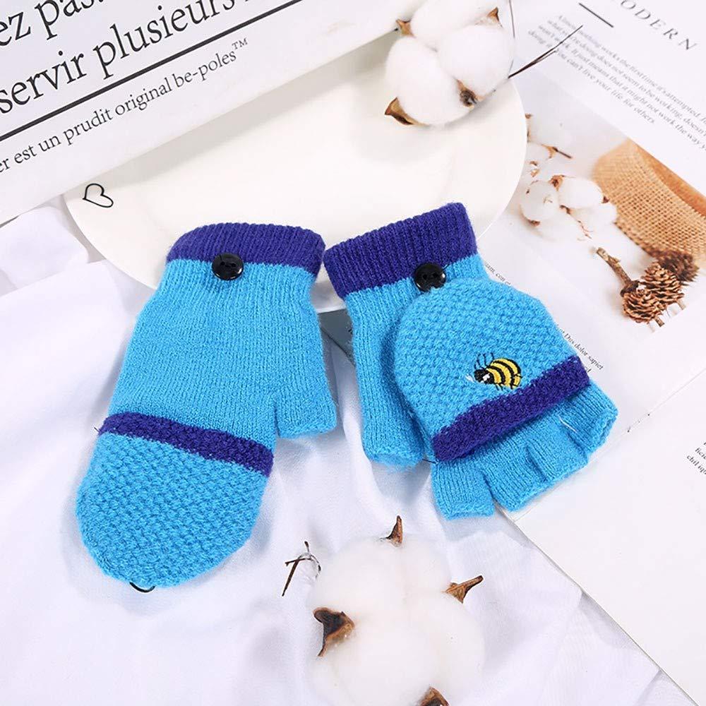 Children Kids Winter Gloves Baby Girls Boys Half Finger Cartoon Honeybee Patchwork Keep Warm Baby Mittens Knitted Gloves
