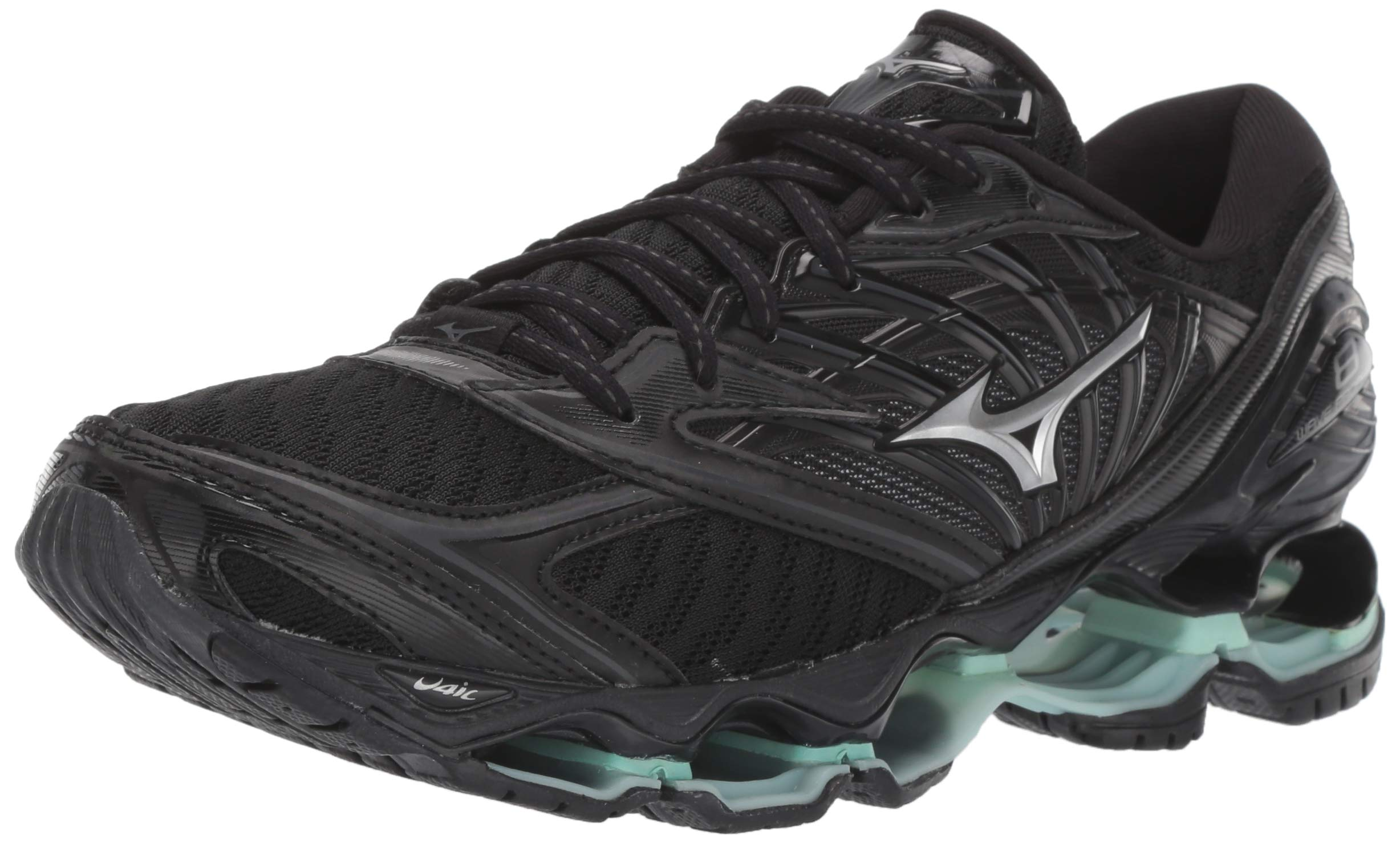 Mizuno Women's Wave Prophecy 8 Running Shoe, Black/Silver, 6.5 B US