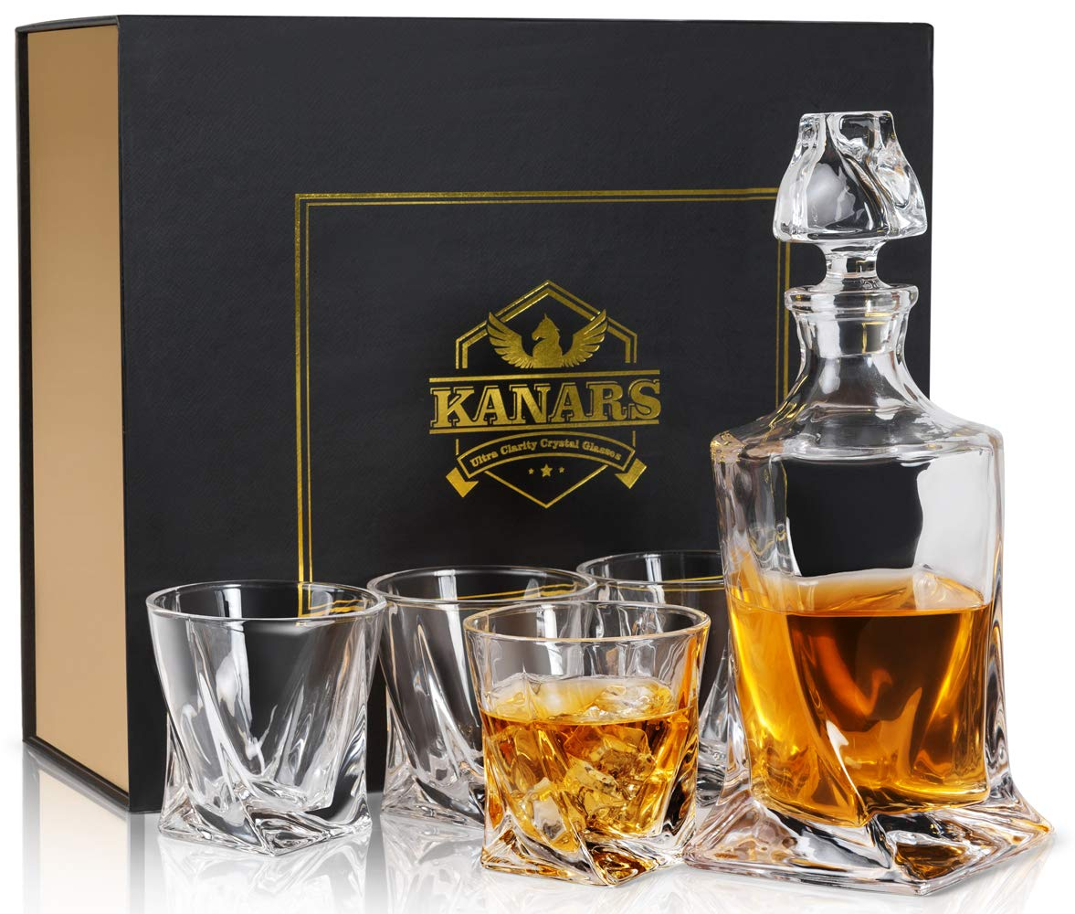 5-Piece Decanter Set KANARS Twist Whiskey Decanter Set With 4 Glasses In Luxury Gift Box - Original Lead Free Crystal Liquor Decanter Set For Scotch or Bourbon, 5-Piece