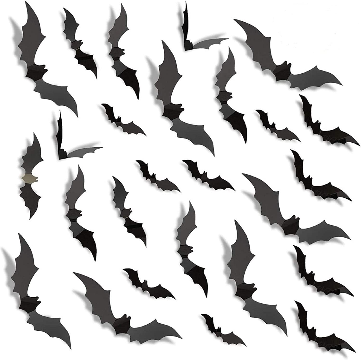 160PCS Halloween 3D Bats Sticker,Waterproof PVC Scary Black Removable Bats DIY for Door Wall Decor Home Office Window Indoor Party Supplies