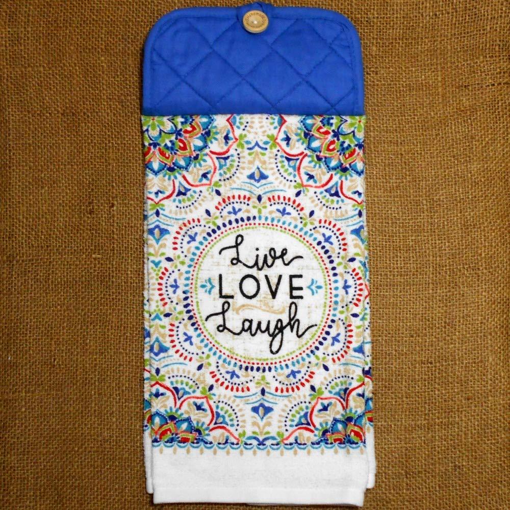 Live Love Laugh Hanging Dish Towel, Colorful Kitchen Decor