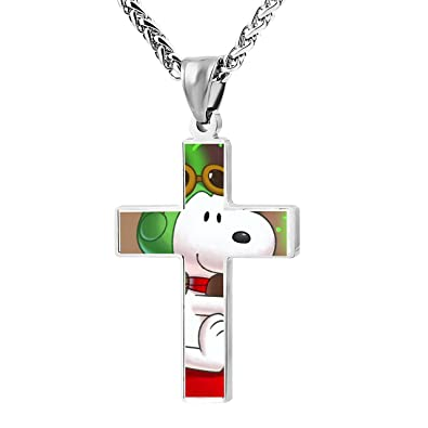 Amazoncom XiaoQ Snoopy Cross Pendant Necklace Christian Religious