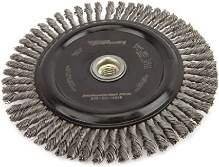 Industrial Pro Stringer Bead Twist Knot with 5//8-Inch-11 and M14-by-2.0 Multi Arbor Forney 72846 Wire Wheel Brush 4-Inch-by-.020-Inch