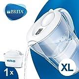 BRITA Marella blanca XL – Jarra de Agua Filtrada con 1 cartucho MAXTRA+, Filtro de agua BRITA que reduce la cal y el…
