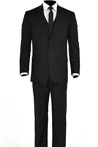 Amazon.com: Para hombre Negro botón de dos tres piezas traje ...
