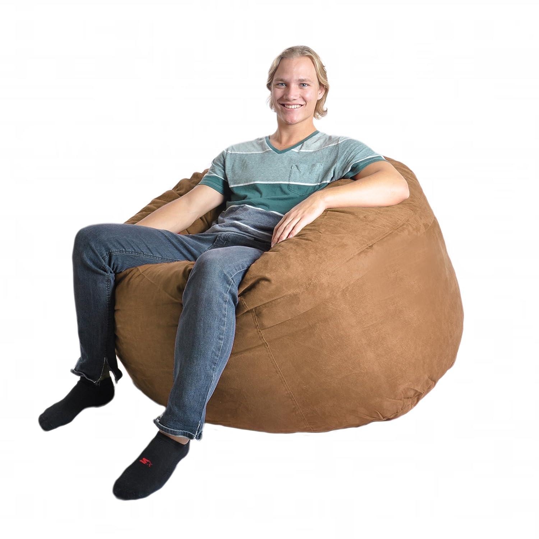 SLACKER sack Microfiber Microsuede Beanbag Chair, 4-Feet, Earth Brown