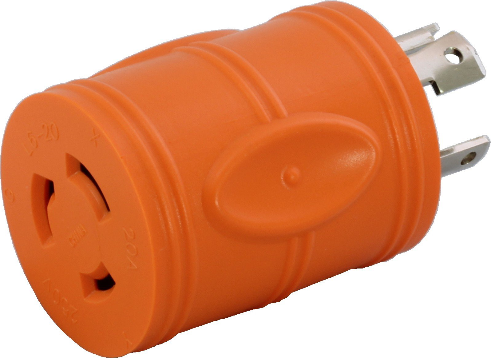 AC WORKS [ADL1430L620] Locking Adapter 4-Prong 30Amp 125/250Volt NEMA L14-30P Locking Plug to L6-20R 20Amp 250Volt Locking Female Connector