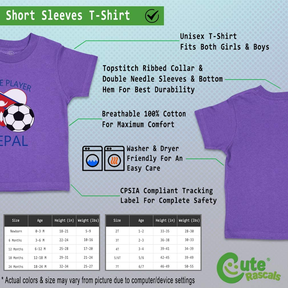 Custom Baby /& Toddler T-Shirt Future Soccer Player Nepal Cotton Boy Girl Clothes