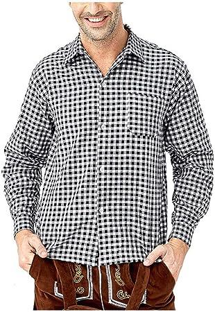 POTOU Camisa para Traje Regional para Hombre, Slim Camisa de Ocio – para Oktoberfest & Tiempo Libre, Negro, Medium: Amazon.es: Hogar