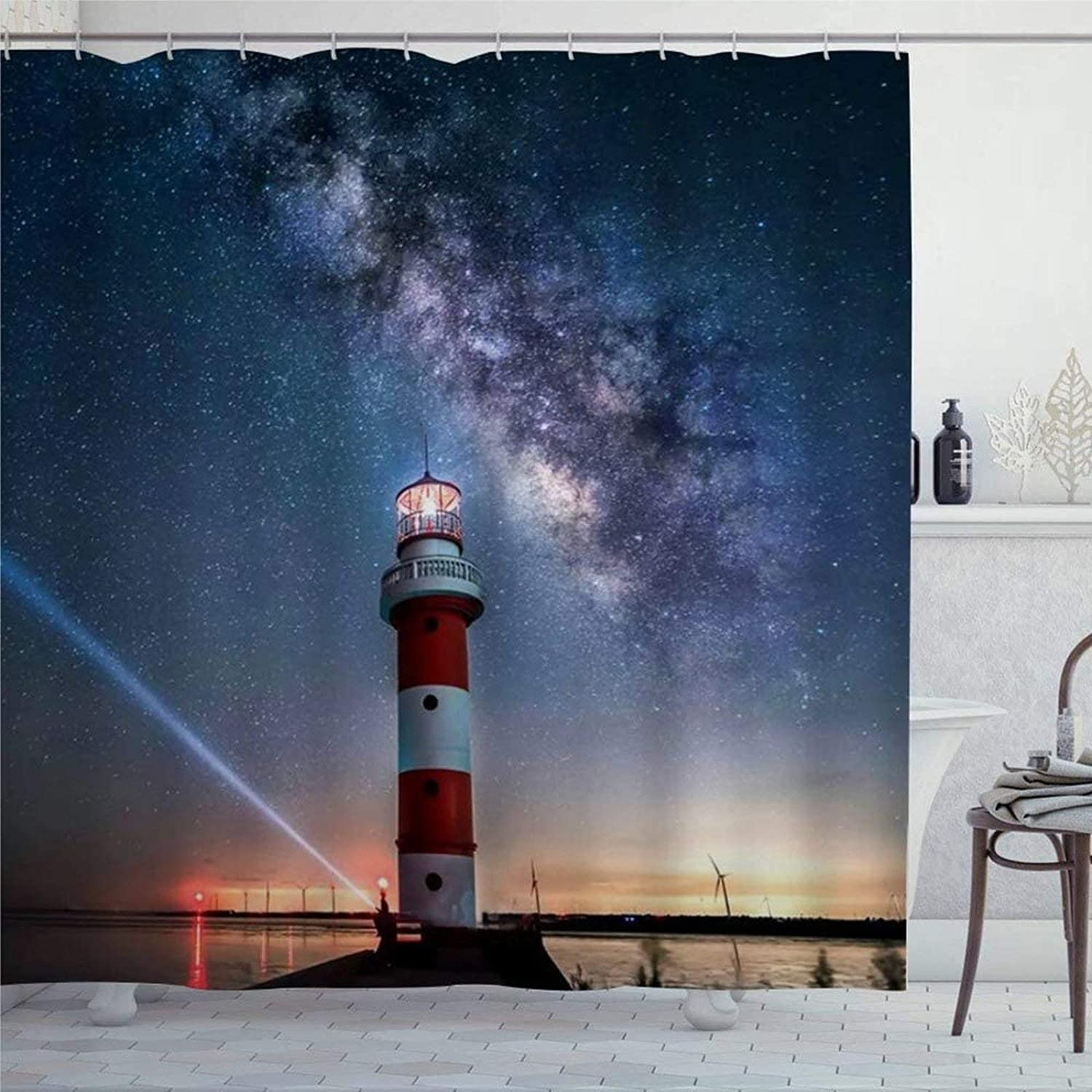 EricauBird Shower Curtain Lighthouse Blue Starry Heaven Ocean Sea Red Yellow Lamplight Landscape Shower Curtain with Rings Polyester Fabric Shower Curtains with Hooks Bath Bathroom Decor
