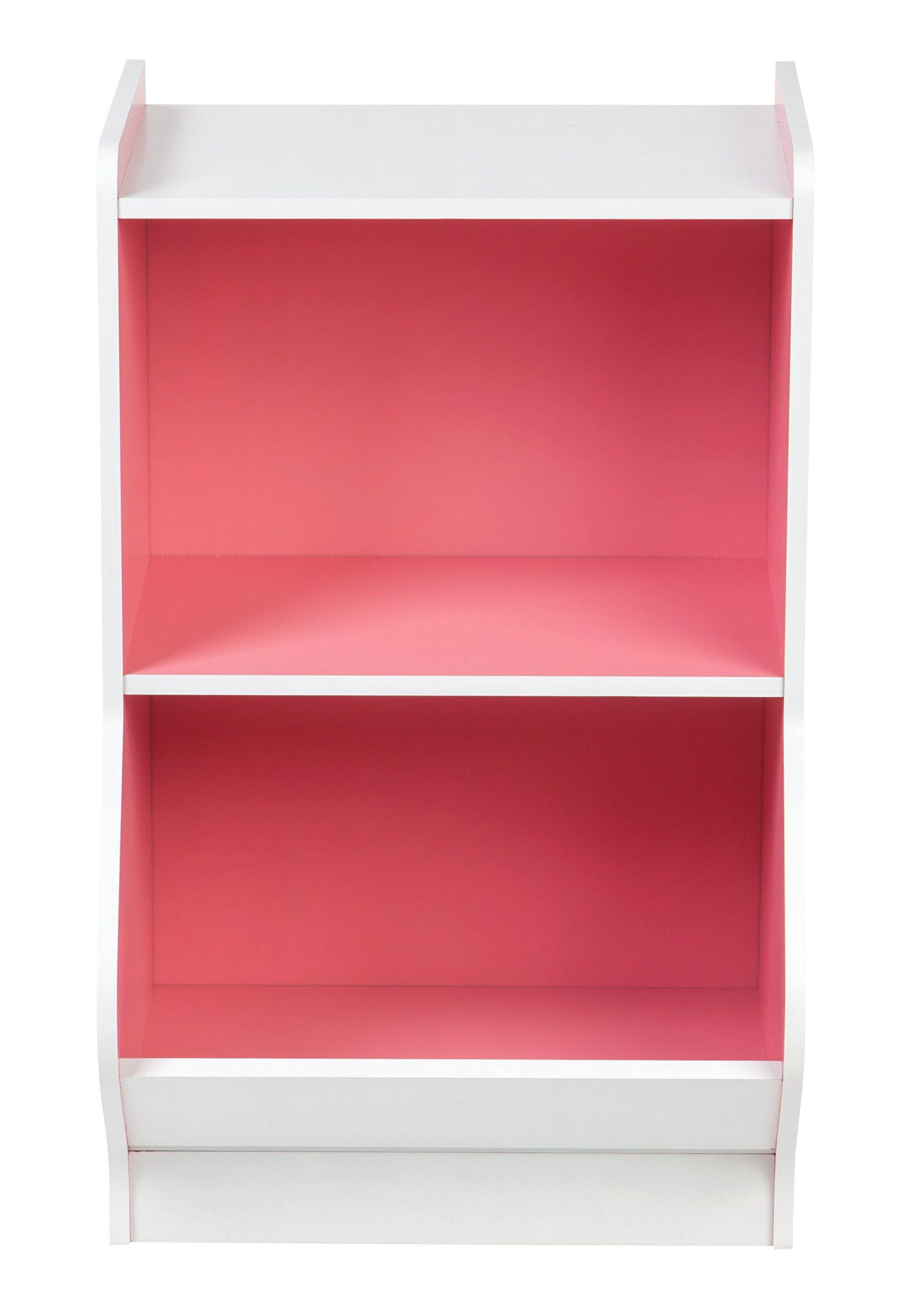 IRIS 2-Tier Storage Organizer Shelf with Footboard, White and Pink by IRIS USA, Inc. (Image #2)