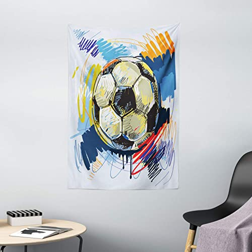 Ambesonne Soccer Tapestry, Spherical Soccer Ball Illustration with Colorful Distressed Details in Motion Art, Wall Hanging for Bedroom Living Room Dorm Decor, 40 X 60 , Grey Pink