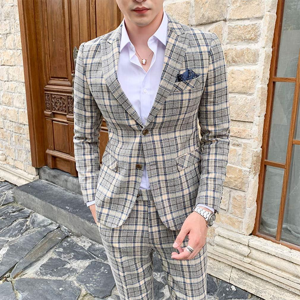 MOGU Mens 3 Piece Slim Fit Plaid Suit Blazer+Vest+Pants