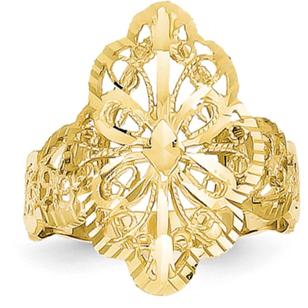 14k Yellow Gold Diamond Cut Filigree Ring (20mm Width) - Size 8