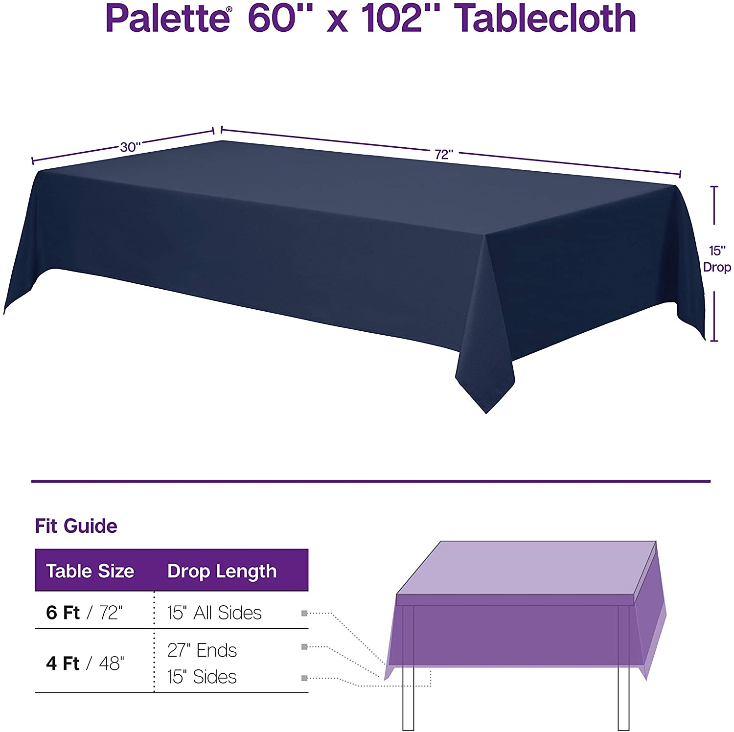 """Gee Di Moda Rectangle Tablecloth - 60 x 102"""" Inch - Pink Rectangular Table Cloth for 6 Foot Table in Washable Polyester - Great for Buffet Table, Parties, Holiday Dinner, Wedding & More: Home & Kitchen"""