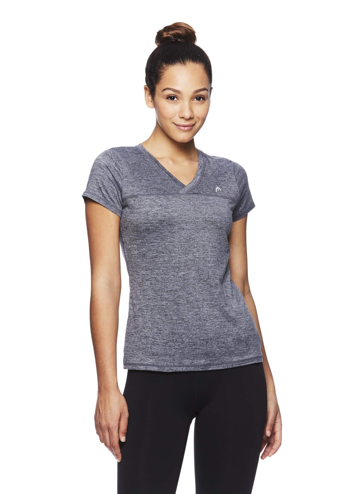 HEAD Women's High Jump Short Sleeve Workout T-Shirt - Performance V-Neck Activewear Top - Medium Grey Heather High Jump, X-Small