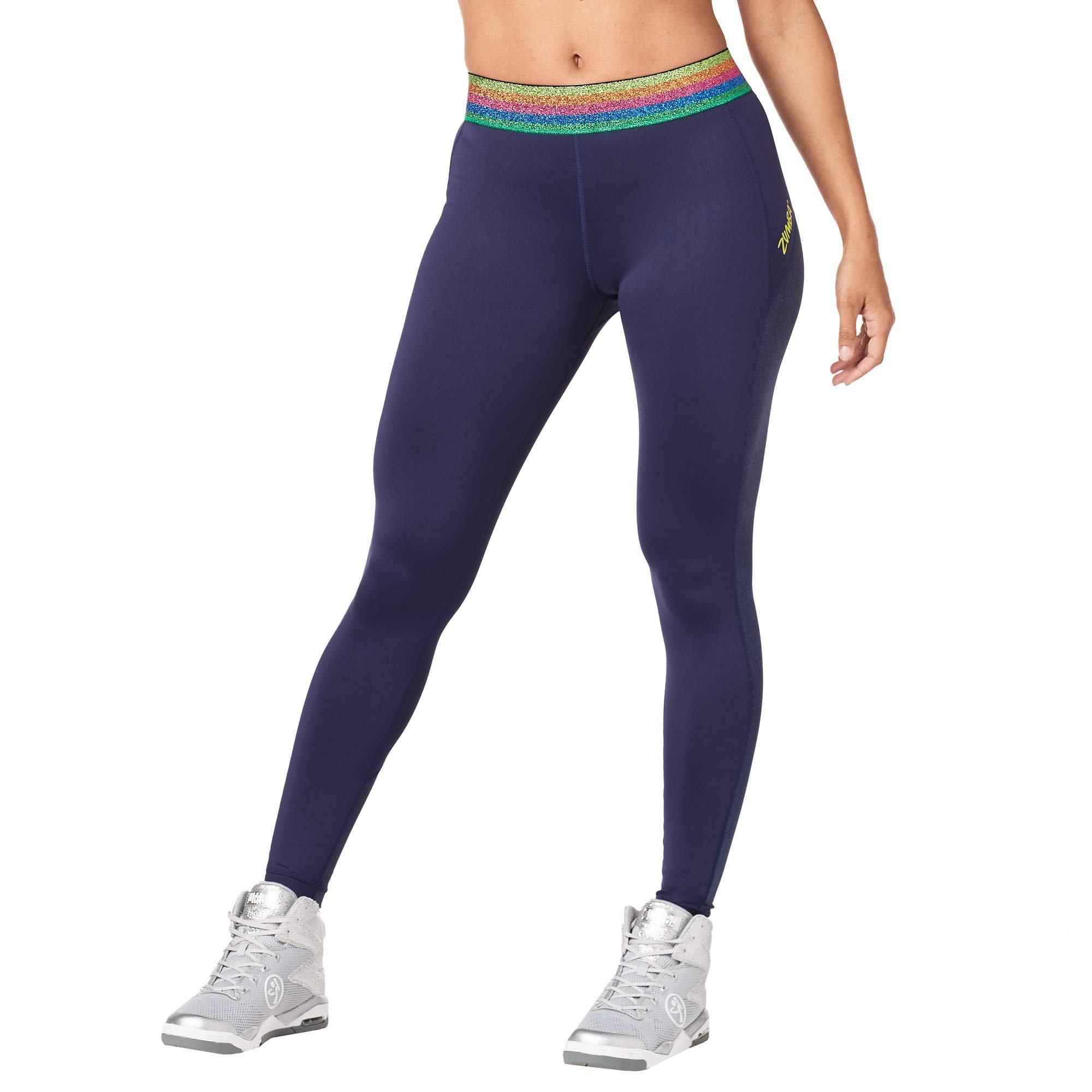 Zumba Dance Workout Wide Jacquard Waistband Leggings For Women