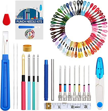 KOKNIT 71 Pcs Punch Needle Set Embroidery Stitching Pen Kit Punch Needle Craft Tool Set for Embroidery Supplies Floss Poking Cross Stitching Beginners