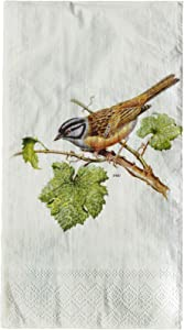 Park Hill Collection Disposable Guest Towels | Two Pack of 20 Count Paper Hand Towels | Songbird Design | Kitchen Dining or Bathroom Decor