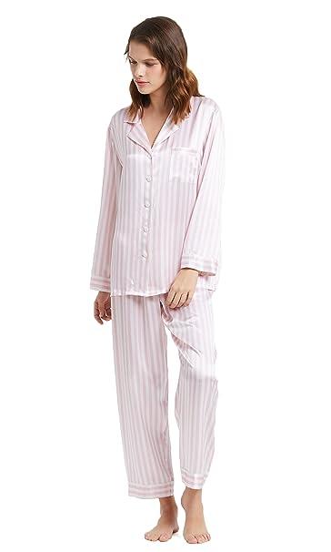 Lilysilk Conjunto de Pijamas Mujer Seda Raya Rosa y Blanca 100% Seda Natural de 22