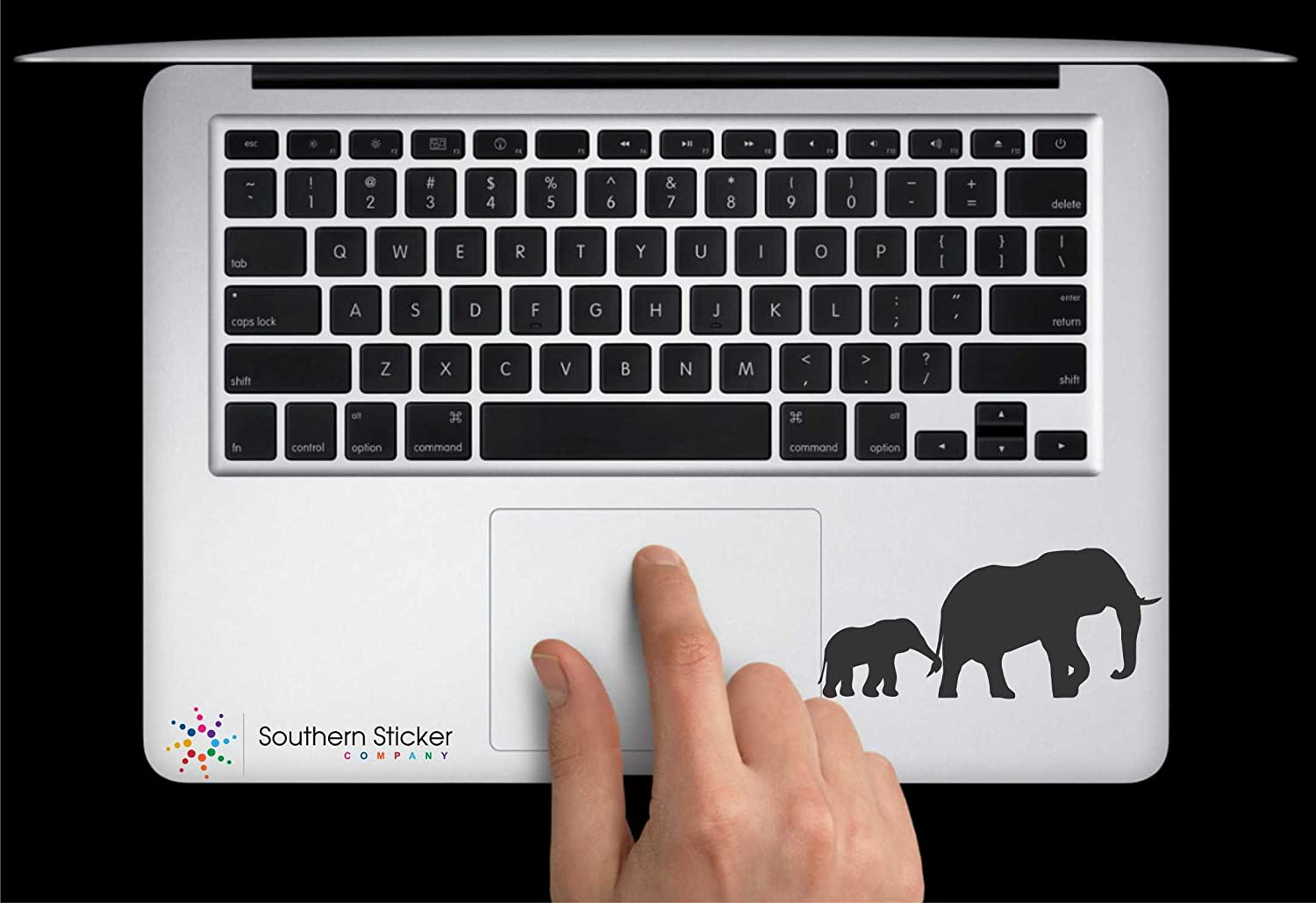 Elephant and Baby Walking Text Vinyl Car Sticker Symbol Silhouette Keypad Track Pad Decal Laptop Skin Ipad Macbook Window Truck Motorcycle