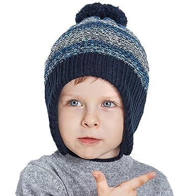 c4a4ceaf0ef URSFUR Bébé Garçons Fille Bonnet Cap Tricot à Pompon Fourrure Chapeau Bonnet  Coton à Cache Oreille