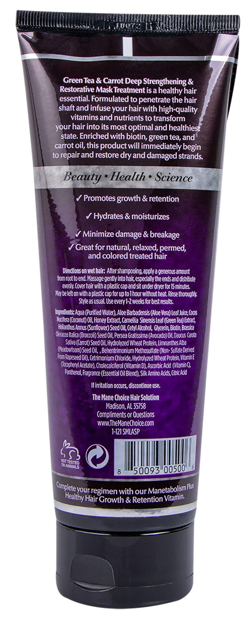 THE MANE CHOICE Green Tea & Carrot Deep Strengthening & Restorative Mask Treatment(8 Ounces / 230 Milliliters) - Hair Mask Infused With Vitamins, Nutrients & Biotin for Stronger Hair by The Mane Choice (Image #2)