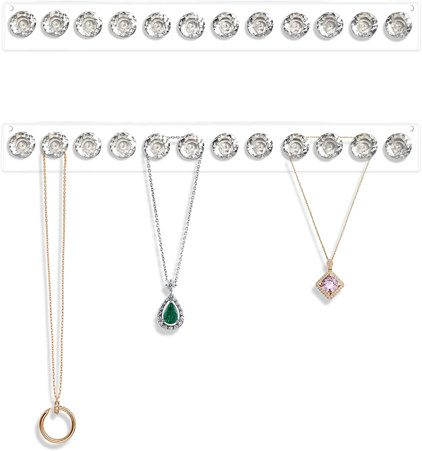 2 Pack Necklace Hangers Acrylic Necklaces Holder Wall Mounted Jewelry Organizer Hanging with 12 Diamond Shape Hooks, Jewelry Hangers for Necklace, Gift for Girls Women