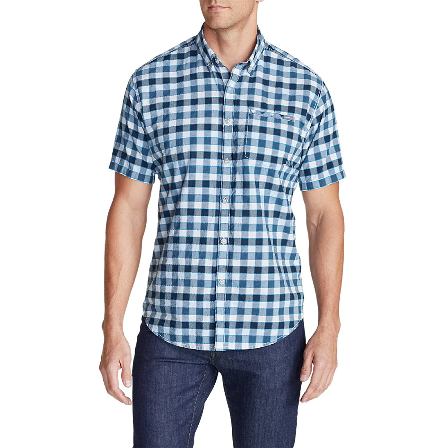 Eddie bauer men 39 s bainbridge ii short sleeve seersucker for Mens short sleeve seersucker shirts