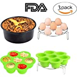 3pcs Instant Pot Accessories Silicone Egg Bites Mold + Egg Steamer Rack + 7inch Cake Pan Mold Insert Pans for 5 6 8 Quart Pressure Cooker Accessory