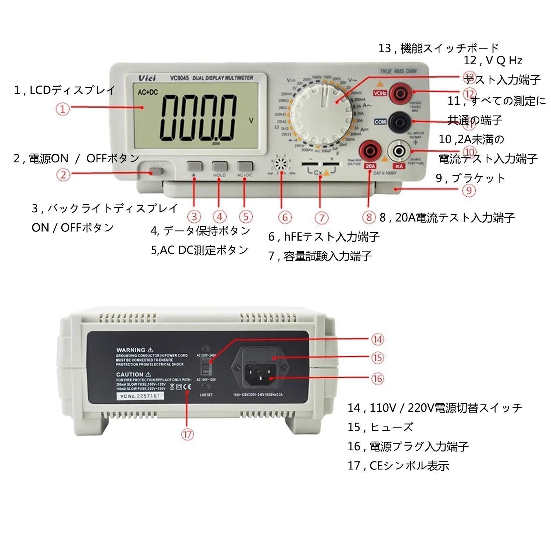 Edition : EU Plug Ywlanlantrading Multimetro da banco 4 1//2 Vero Valore Efficace del Desktop di precisione multimetro Tester Digitale DCV//ACV//DCA//AC Misura VC8045