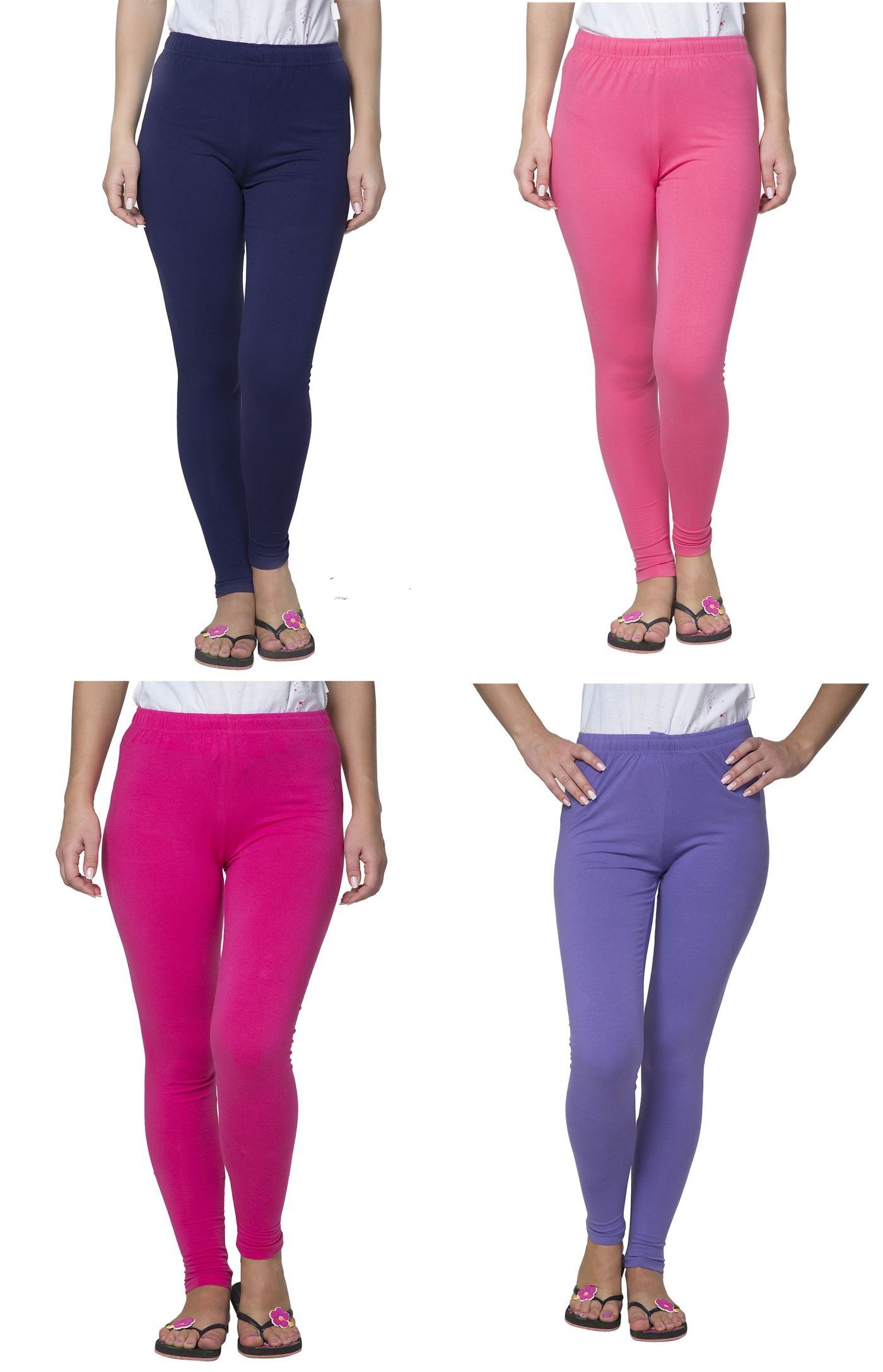 Clifton Women's Cotton Spandex Fine Jersey Leggings Pack Of 4-Assorted-2-XL
