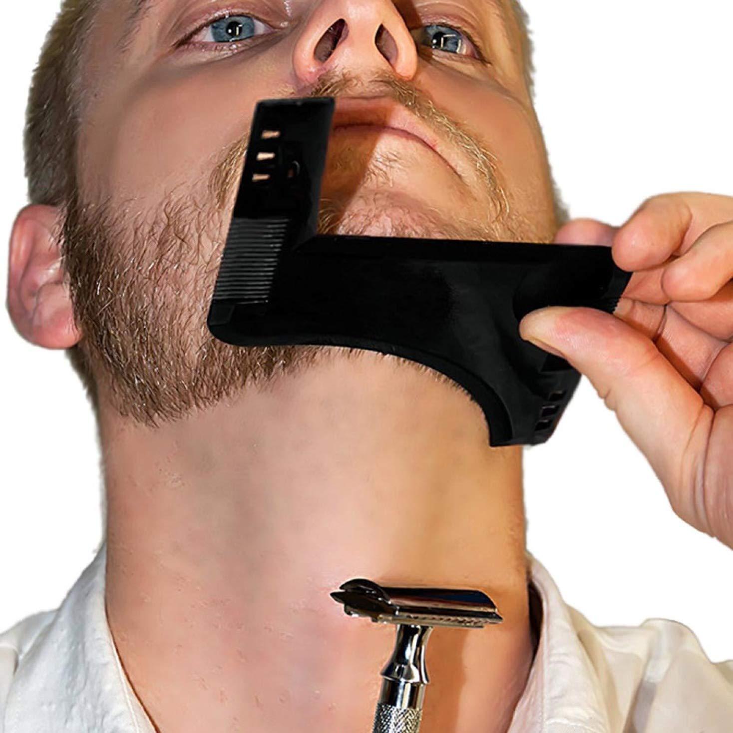 BoshILun Beard Comb Beard Shaper Facial Hair Shaping Tool Comb Gentleman Beard Trim Moustache Template Hair Cut Molding Men Father Gift None Black @