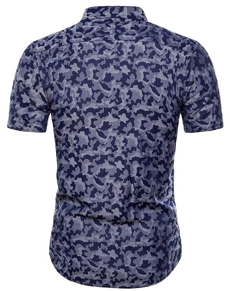 Pandapang Men Curved Hem Jacquard Comfy Camouflage Lapel Neck Button Down Shirts