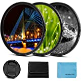 58mm Star Filter 3 Pieces Starburst Lens Filter(4 Points,6 Points,8 Points) with Centre Pinch Lens Cap for Canon Nikon…