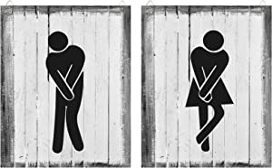 Jetec Bathroom Sign Man Woman Bathroom Sign Funny Bathroom Sign Wooden Bathroom Sign for Offices, Businesses, and Restaurants