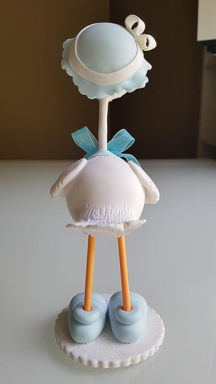 Hermosa Cigueña en Porcelana Baby Shower Nacimiento niño. Hecha a mano decoracion de tarta: Amazon.es: Handmade