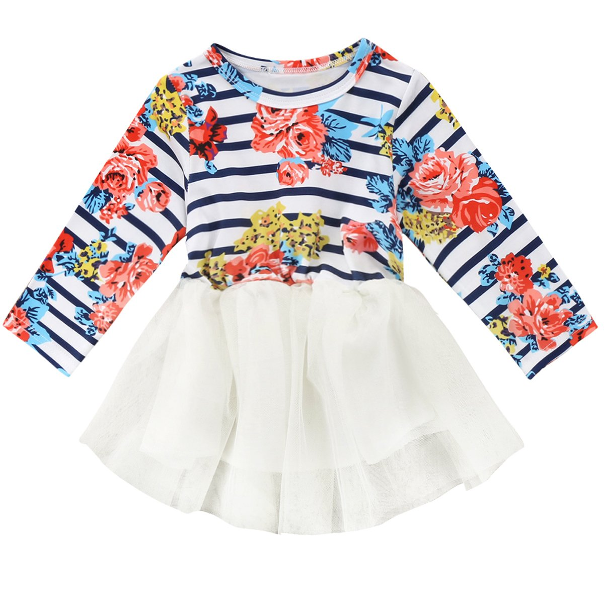 Little Girls Tulle Dress Baby Kids Long Sleeve Floral Printed Tutu Birthday Dress