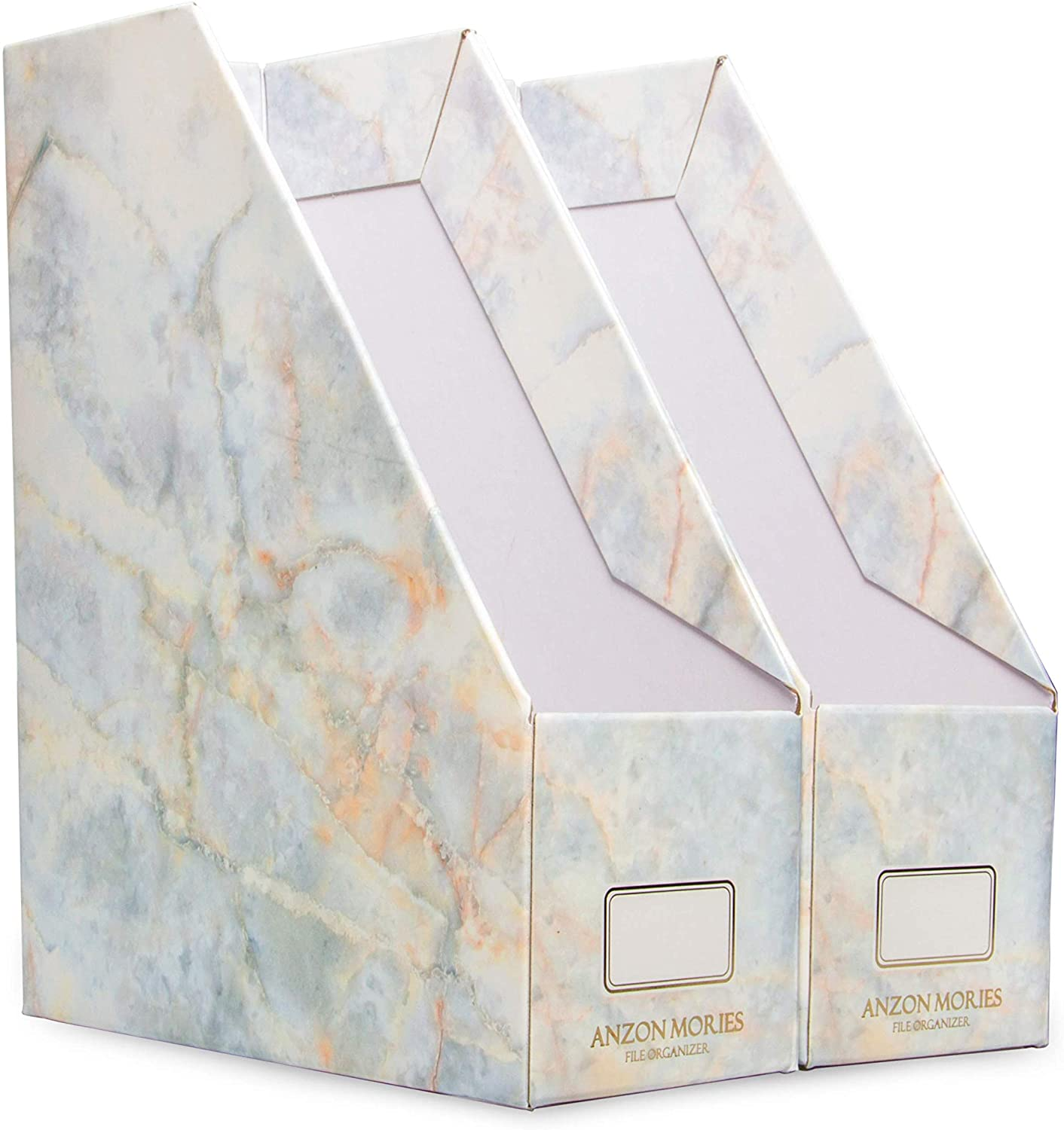ANZON MORIES Magazine File Holder with Golden Marble Design 2 Pack, Premium Document Storage Box, Book Bin, Desk File Rack, Perfect for A4 Size Document, Office Folder, Newspaper Tray