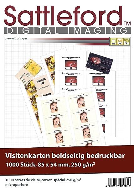 Sattleford Visitenkartenpapier 1 000 Visitenkarten Microperforiert Inkjet Laser 250g M 85 X 54 Visitenkarten Papier Perforiert