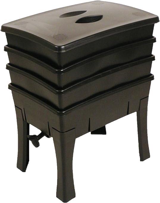 Compostera para lombrices, fácil de utilizar, negro: Amazon.es: Jardín