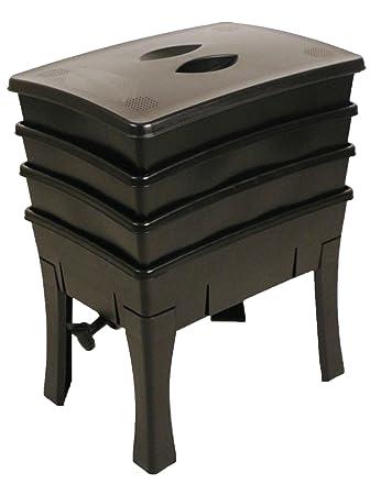 Compostera para lombrices, fácil de utilizar, negro