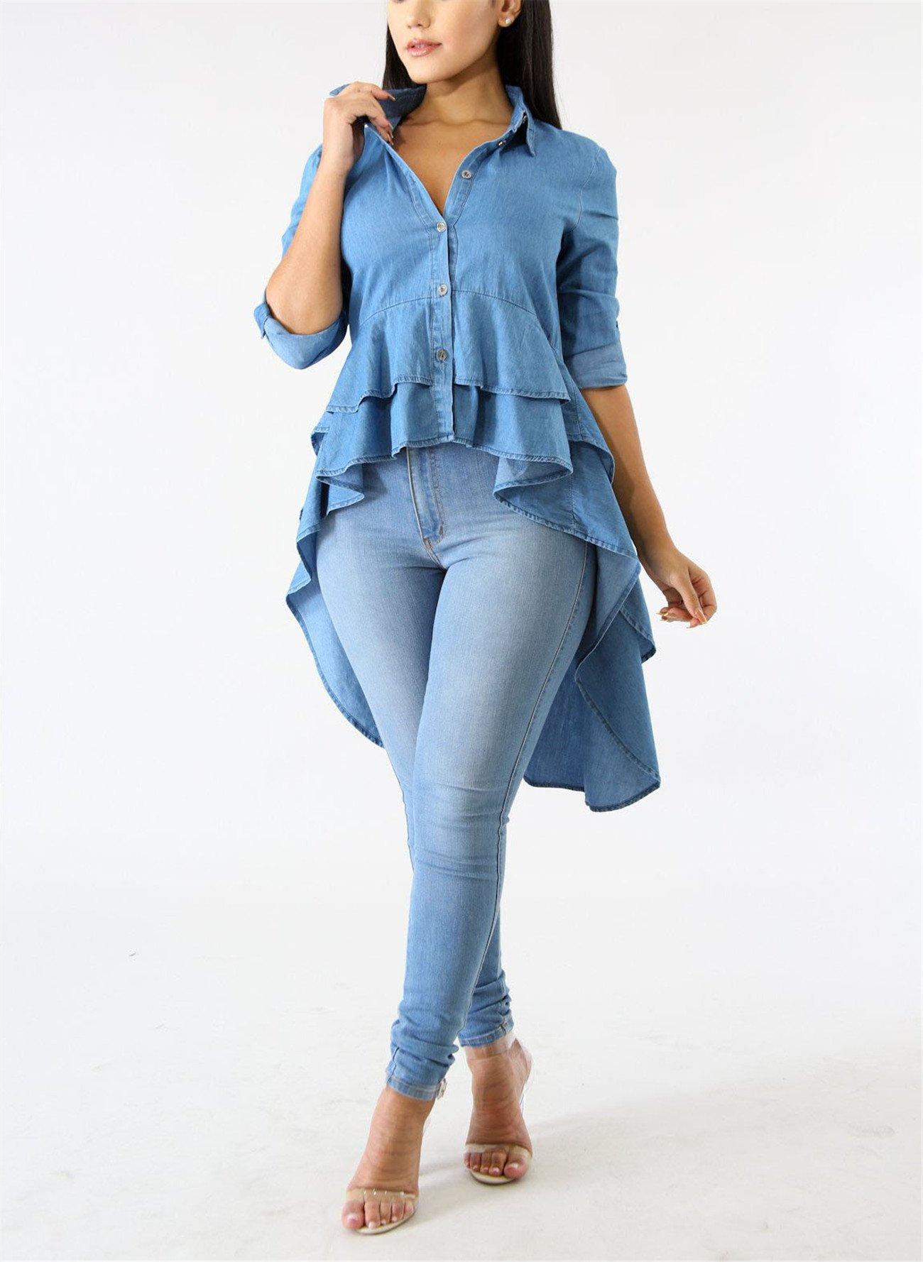 Fashion Cluster Womens Summer Long Sleeve Denim Blue Irregular High Low Hem Buttom Down Tunic Tops Blouse Boho Maxi Polo Shirt Dress XXL by Fashion Cluster (Image #4)