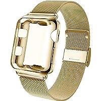 Mediatech Ersättningsarmband kompatibelt med Apple Watch, armband, 38 mm, 40 mm, 42 mm, 44 mm, med skärmskydd, rostfritt…