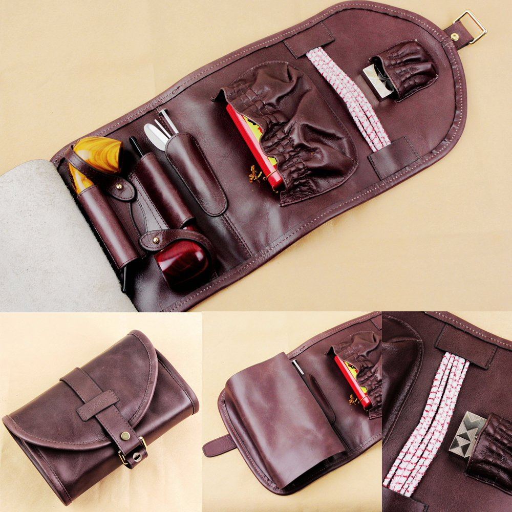 High-grade Leather Smoking Tobacco Pipe Pouch Bag Organize Case Pipe Tool lighter Holder Pocket for 2 pipe China