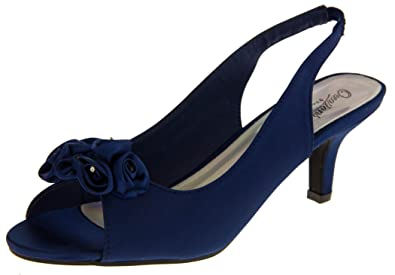 Womens Navy Blue Satin Low Heels Slingback Wedding Bridal Shoes ...